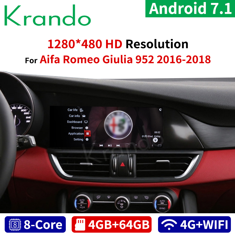 Krando Android 7.1 10.25'' car radio for Alfa Romeo Giulia 952 2016-2018 gps navigation multimedia player with bluetooth