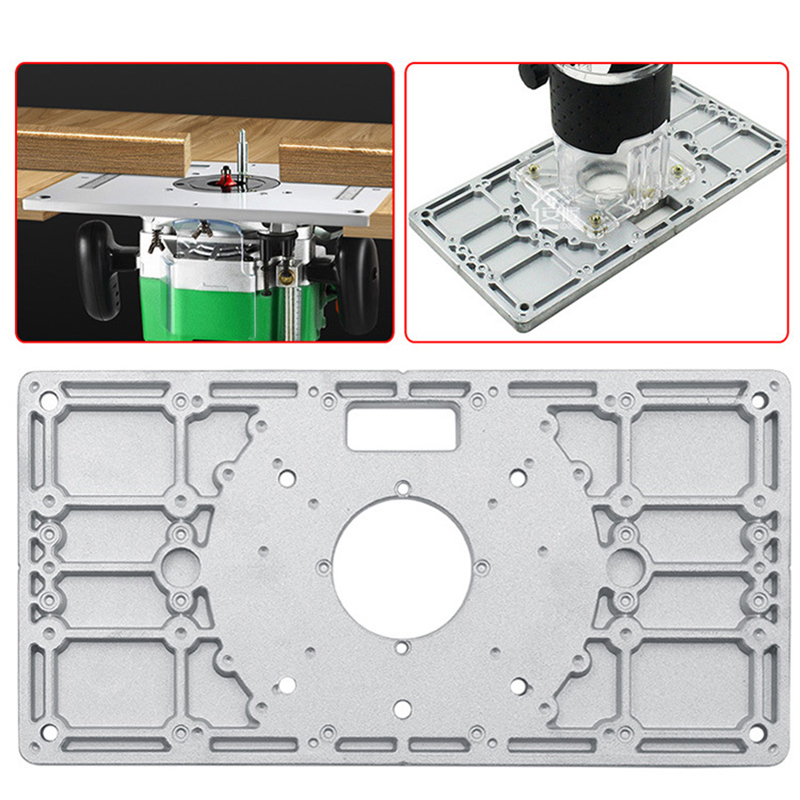 Aluminum alloy Router Table Insert Plate Woodworking Trimming Machine Flip Board Kit With 4 Inside Diameter Ferrules
