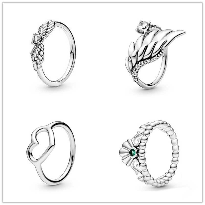 925 Sterling Silver Ring Sparkling Angel Wings Ring For Women Wedding Party Gift Fashion Jewelry