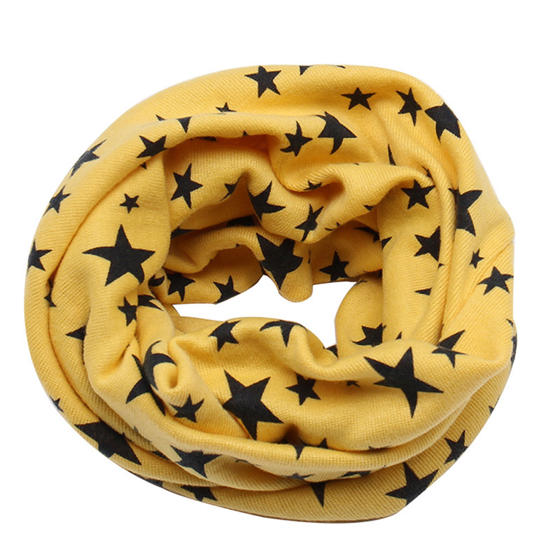 Children Scarf Snood Outdoor Warm Neck Warmer Scarf Autumn Winter Cute Long Star Print Ring Scarf For Kids