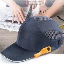 Gorra de seguridad con rayas reflectantes, sombrero duro ligero y transpirable, casco para la cabeza, para el lugar de trabajo, para construcción, color negro