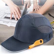 Veiligheid Bump Cap Met Reflecterende Strepen Lichtgewicht En Ademend Hard Hoed Hoofd Helm Werkplek Bouwplaats Hoed Zwart