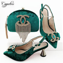 Amazing teal green spring/autumn design pointed toe pump shoes and evening bag sets with rhinestones MM1087 heel height 7cm(China)
