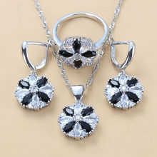 European And American Fashion Dinner Wedding Accessories Black White CZ 925 Sterling Silver 3PCS Jewelry Sets For Women Gift(China)