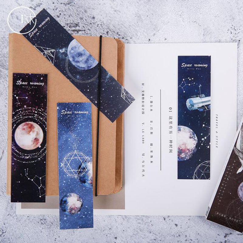 Roaming Space Paper Planet Bookmark Creative DIY Card Message Blessing Greeting Card Office Learning Stationery Boxed 30 Into