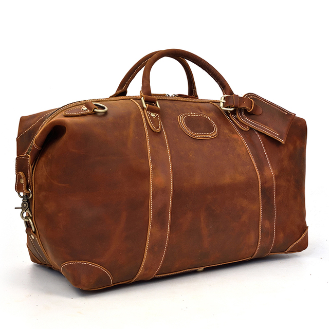 MAHEU 100% Genuine Crazy Horse Leather Men Travel Bags With Rivet Big HandBag For Male Cowhide Duffel Bag Mans Travelling Bag 2