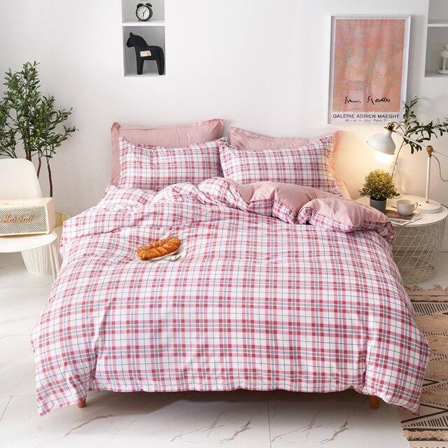 Simple Bedding Set Pink Blocks 16