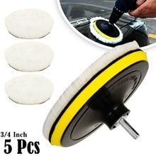 5PCS Universal Car Polish Pad 3/4inch For M14/16 Soft Wool Machine Waxing Polisher Car Body Polishing Discs Cleaning Goods