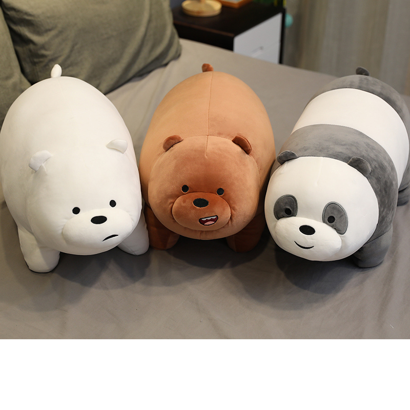 Cute Three Naked Bear Dolls Plush Toys Standing Peluche Soft Panda Pillow Home Decoration Bed To Accompany Baby Toys Sleeping