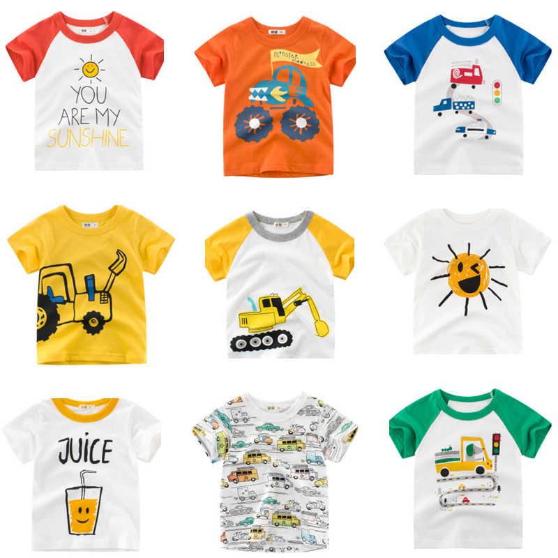 Jongens T-shirt Zomer Cartoon Print Kinderen Tops Kleding Katoen Auto Korte Mouwen T-shirts Kids Jongen Meisjes Tee Peuter 2-8Y