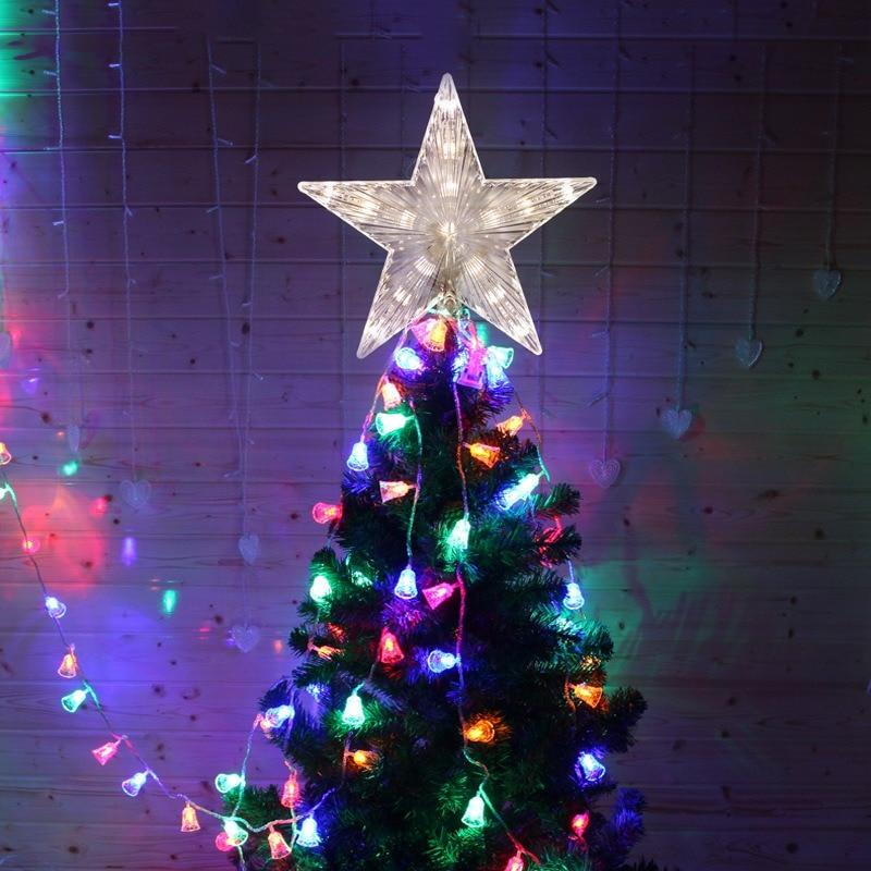 NEW LED Light Up Christmas Tree Topper Star Xmas Tree Star Ornament Estrelinhas Adornos De Navidad Eve Decorations