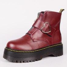 Słodkie buty na platformie damskie buty zimowe 2019 moda na zamek PU skórzane buty damskie botki z klamrą w kształcie serca