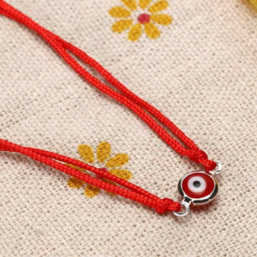 赤糸邪眼チャーム文字列ロープ編組腕輪幸運ハンドメイドブレスレット糸調節可能 Diy のジュエリー男性