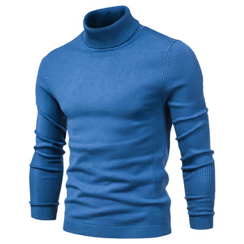 New Winter Turtleneck Thick Mens Sweaters Casual Turtle Neck Solid Color Quality Warm Slim Pullover Men