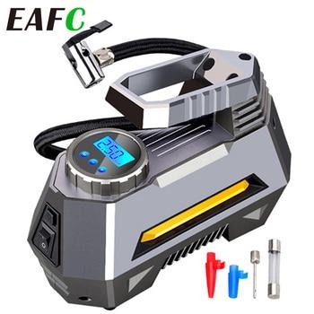 Portable Air Compressor Tire Inflator - Car Tire Pump With Digital Pressure Gauge (150 Psi 12V DC) Bright Emergency Flashlight
