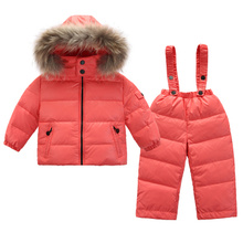 winter Children Down Suit Long Zipper Solid White Duck Down Boys Girls Down Jackets Thickening Jacket + Pants Two piece Clothes недорого
