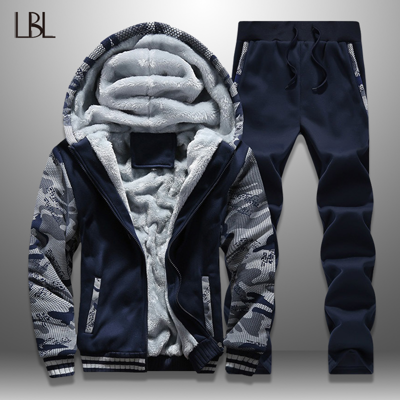 LBL Winter Men Set Streetwear Fleece Mens Tracksuit Camouflage Jacket Pants Sets Thick Moleton Masculino Warm Men's Clothing New