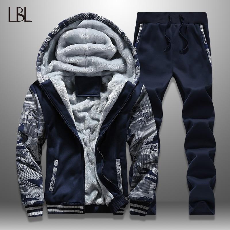 LBL Winter Men Set Streetwear Fleece Mens Tracksuit Camouflage Jacket Pants Sets Thick Moleton Masculino Warm Men's Clothing New