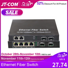 Gigabit Ethernet schakelaar SFP glasvezelschakelaar 10/100 / 1000Mbps Glasvezel Media Converter 2 * SFP glasvezelpoort en 2 4 8 RJ45 UTP poort 2G2 / 4 / 8E Glasvezel ethernetschakelaar