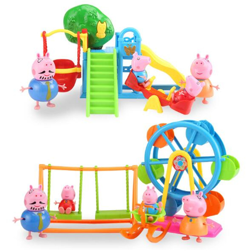 Original Peppa Pig Family Pack Amusement Park Ferris Wheel Kids Toys Full Role Action Figure Model Pelucia Children Gifts