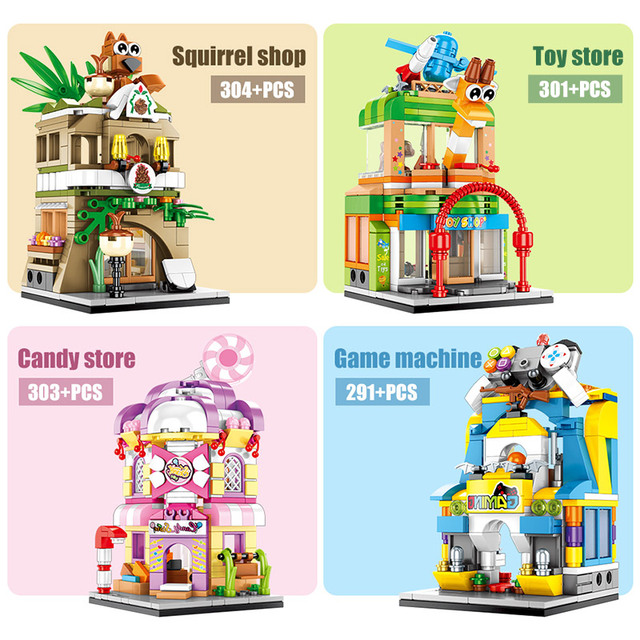 City Diy Game House Building Blocks for  Street View Food Shop Retail Store Restaurant Model Bricks Toys For Children