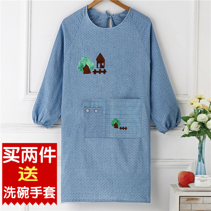 Long Sleeve Pure Cotton Apron Household Kitchen Cooking Oil Resistant Men And Women Overclothes Waterproof Work Clothes Fashion