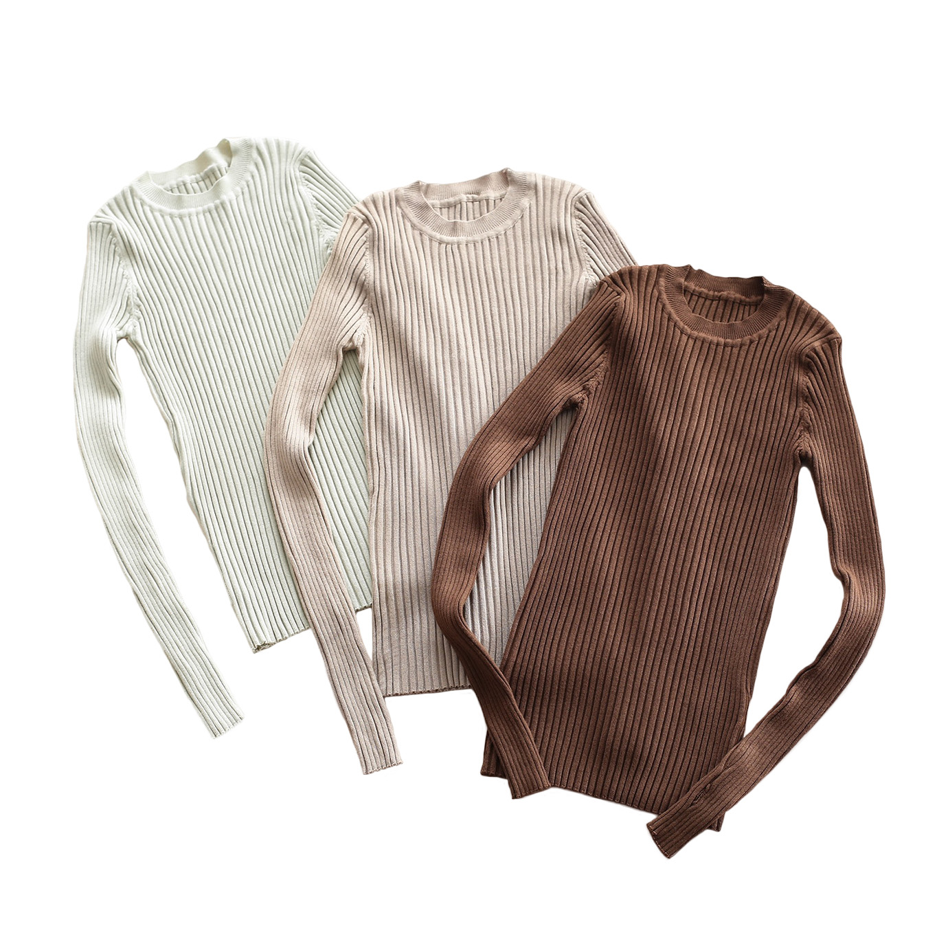 Crew Neck Ribbed Sweater Women Basic Slim Fit Rib Knitted Top Pullover Solid Long Sleeve Cotton Sweaters With Thumb Hole