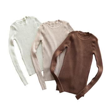 Sweter damski sweter Basic prążkowany sweter bawełniany sweter z dzianiny solidny sweter z okrągłym wycięciem na szyi z otworem na kciuk tanie i dobre opinie Embellike Stałe REGULAR COTTON CREW NECK CN (pochodzenie) NONE Pełna STANDARD Brak Na co dzień WOMEN XR-010205 85 cotton 10 Viscose 5 Nylon