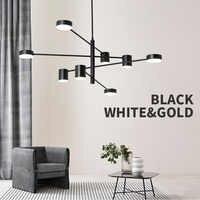 Lámpara de luz de techo Led nórdica con luz redonda negra larga para el salón de estar desván dormitorio salón comedor hogar decoración de la lámpara