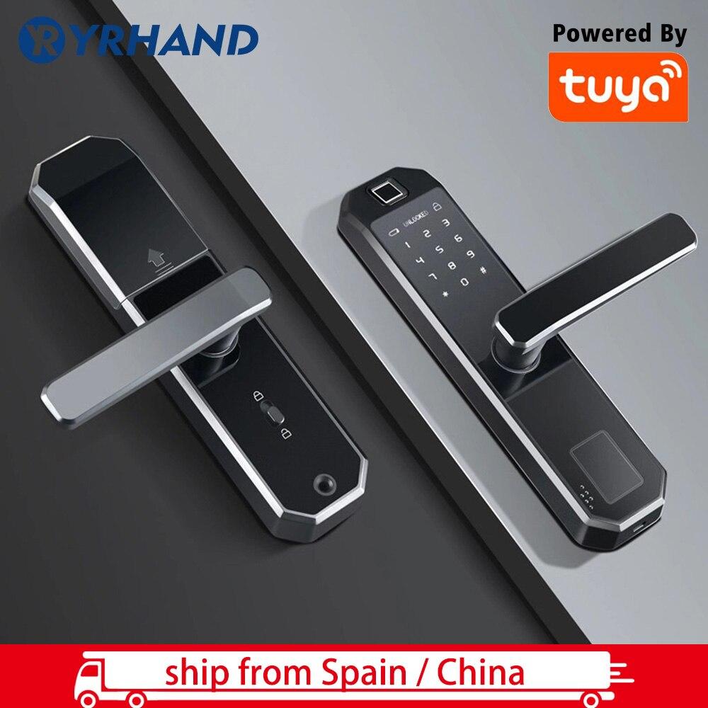 Tuya App Fingerprint Door Lock  Wifi Code Card Key Touch Screen Smart Door Lock Security Digital Electronic Lock Ship From Spain