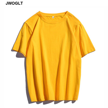 Summer New 100% Cotton Soft Mens T Shirts Casual Short Sleeve O-Neck Regular Fit Black White Yellow Basic Tops Tees M-4XL