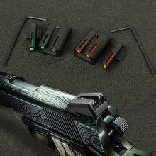 Ewolf fibra óptica frente vista traseira conjunto vermelho verde vista para 1911 corte. 270/.450 arma