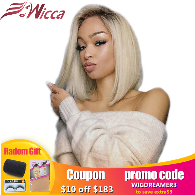 Wicca Lace Front Bob Wig 1B /613 Ombre Blonde Straight HD Lace Brazilian Human Remy Hair Pre Plucked Short Half Wig For Women