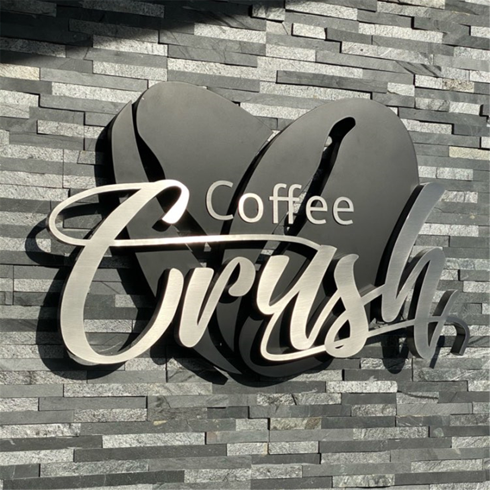 Factory Outlet Outdoor stainless steel words sign for coffee bar store, metal characters for feather wall, company logo signages image