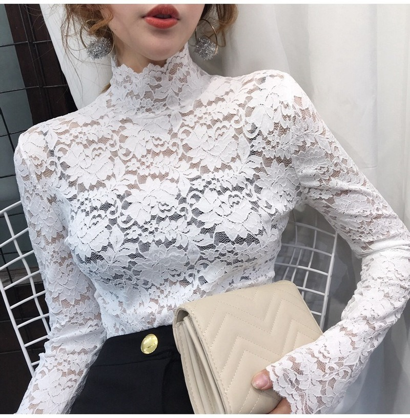 Elegant Women White Lace Blouse Sexy See Through Female Office Shirts Long Sleeve Turtleneck Ladies Tops Blusas femininas