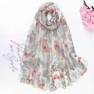 Модный женский шарф, шаль с принтом бабочки, шаль из хлопка и льна, Женский Длинный солнцезащитный шарф