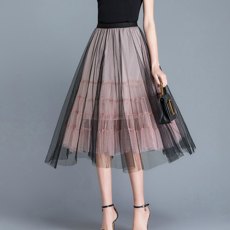 Super Chic Contrast Color Tutu <font><b>Tulle</b></font> <font><b>Skirts</b></font> Spring Autumn Puff Patchwork Pleated Mid Calf <font><b>Long</b></font> <font><b>Skirts</b></font> Pink Ivory <font><b>Black</b></font> image
