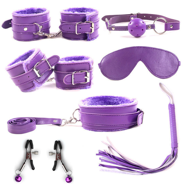 7Pcs/Set Erotic Toys BDSM Sex Bondage Set Handcuffs Ankle Cuff Nipple Clamps Gag Whip Rope Adult Games Sex Toys For Woman Couple 3
