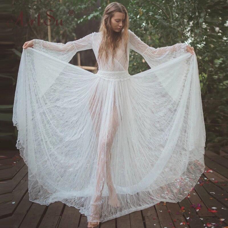 ArtSu 2020 весеннее женское элегантное цветочное кружевное платье с v образным вырезом в пол, Сексуальные Длинные Макси Вечерние Платья, белое богемное платье|Платья|   | АлиЭкспресс