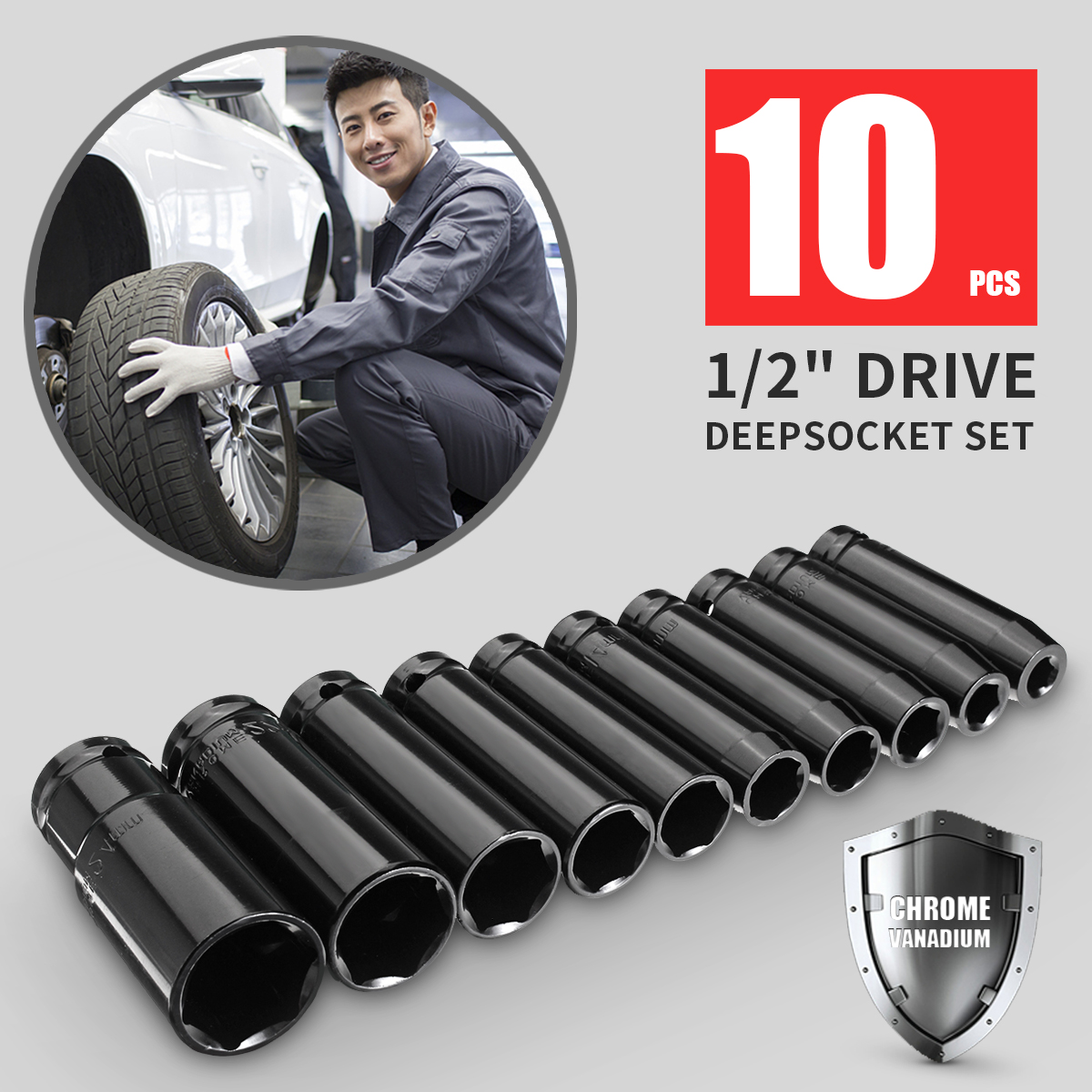 1/ 2 Inch Chrome Vanadium Black Drive Deep Impact Socket 10 In 1 Set 8-24mm Size Garage Tool Wrench Adapter Hand Tool Set