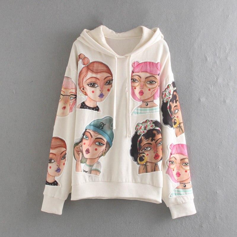 2019 Autumn winter hooded Jumper Art Series Coat fashion pullover streetwear cartoon Top Hoodies women clothing sweatshirt
