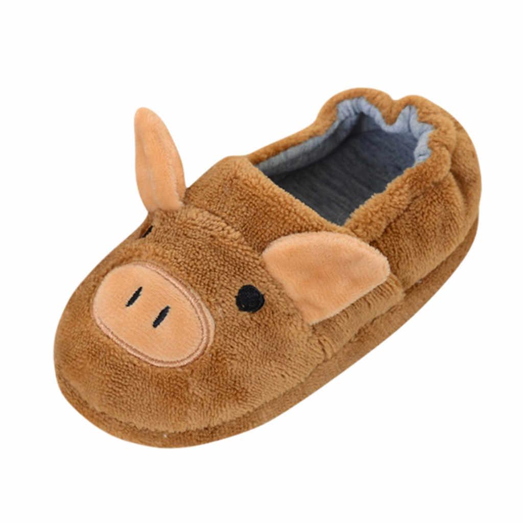 Kind 2019 Warm Thicken indoor non-slip schoenen Peuter Kids Baby Warme Schoenen Jongens Meisjes leuke dieren Soft zolen Slippers