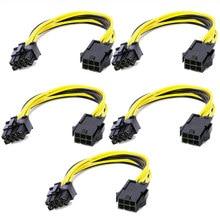 5 pces 6 pinos feamle para 8 pinos macho pci express power converter cabo cpu placa de vídeo gráfico 6pin para 8pin pcie cabo de alimentação