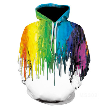2020 New  Rainbow Splash Paint Galaxy 3D Printed Women Jacket Hooded Femme Sweatshirt Casual Loose Men Pocket Hoodies Coat new men s dragon ball 3d printed hooded sweatshirt with kangaroo pocket hob aa03