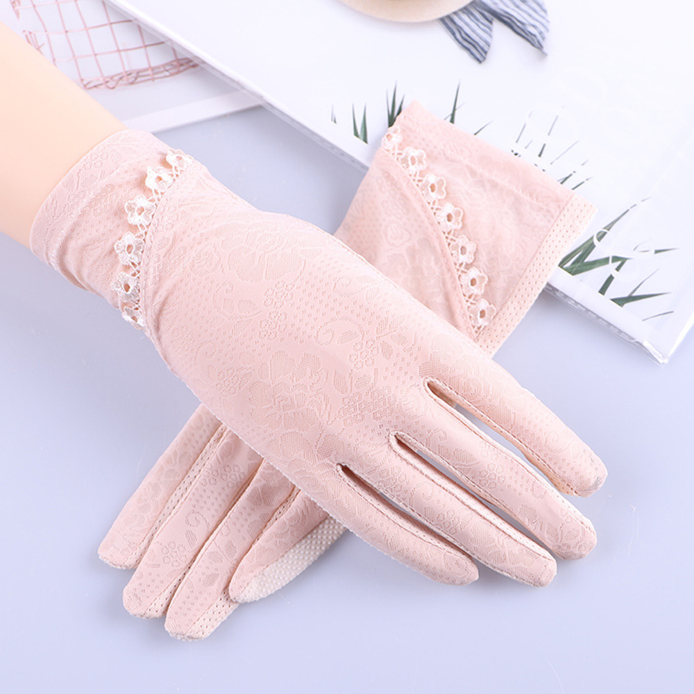 Women's Driving Anti Uv Gloves Sunscreen Gloves Summer Slip-proof Mid-long Style Touch Screen Breathable Ice Silk Gloves