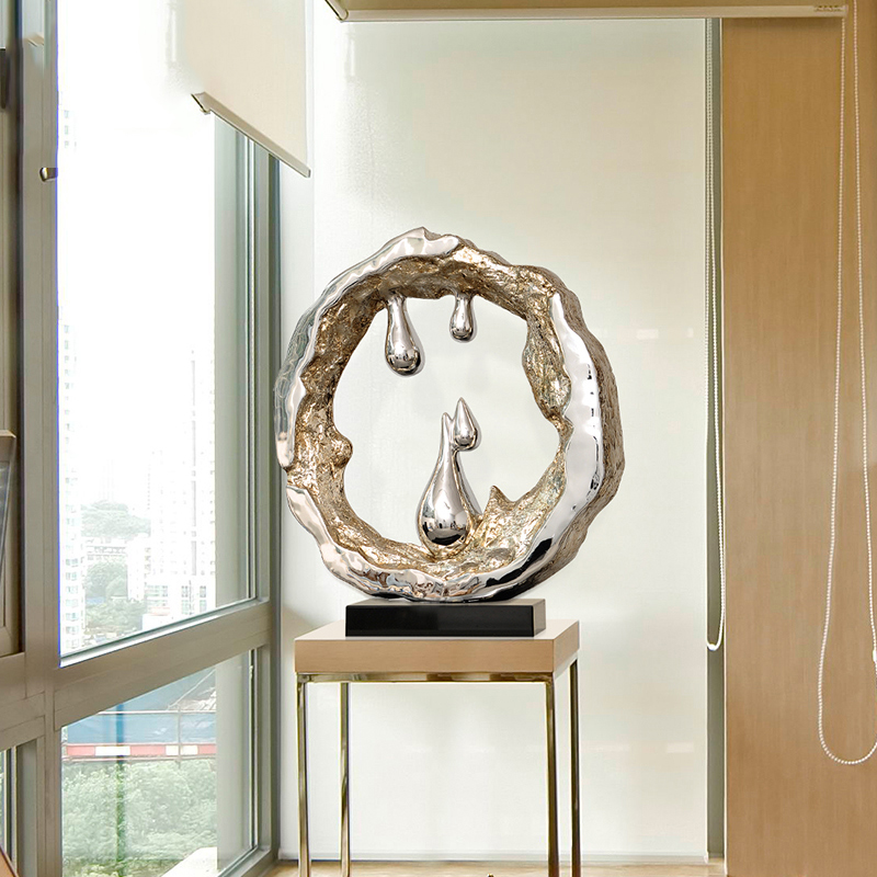 62cm Big Size Abstract Plating Drip Hole Resin Statue Home Decor Crafts Room Decoration Objects Office Hotel Marble Figurines