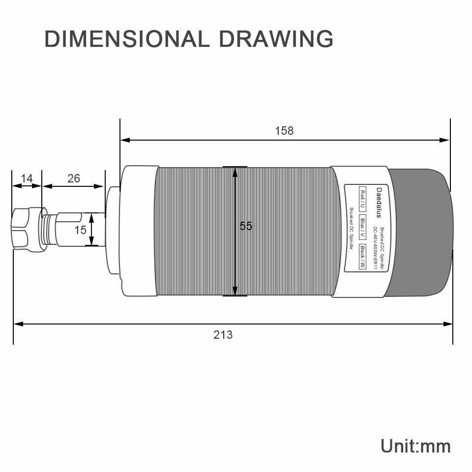 Husillo sin escobillas 600W enfriado por aire fresadora de Motor husillo ER11 55mm Abrazadera de husillo soporte de montaje para fresadora grabadora