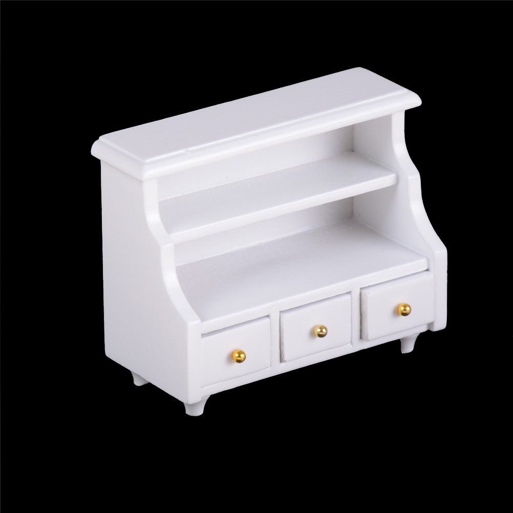 1:12 Scale Dollhouse Miniatures Furniture Kitchen Bathroom White Cabinet Chest Cupboard Wooden Toys For Bjd Doll