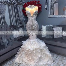 Luxuy vestido de sirena con plumas de cristal blanco y plateado, vestido negro para baile de graduación, largo, Formal, elegante, africano