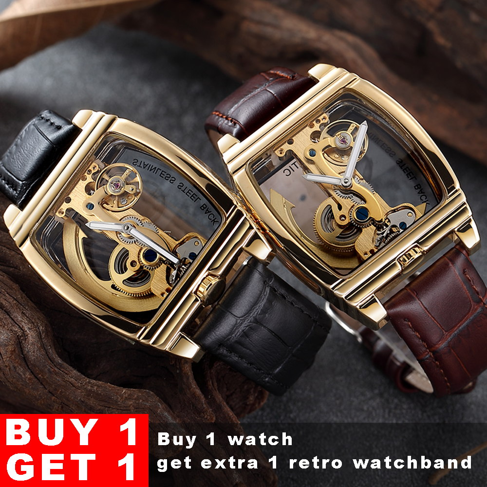 Tourbillon Transparent Watch Men SHENHUA Gold Case Genuine Leather Wrist Watch Self Winding Mens Automatic Mechanical
